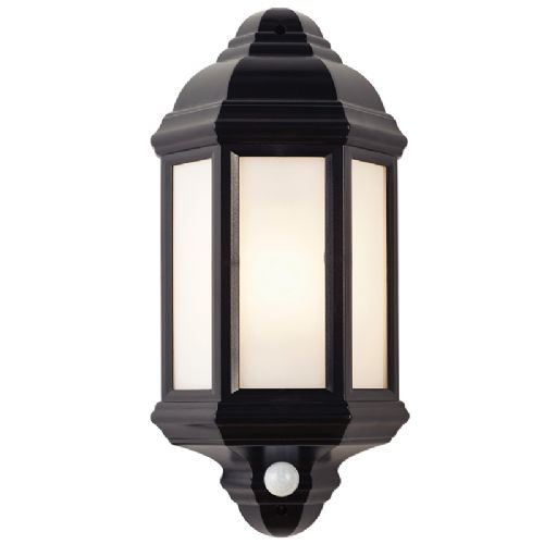 POLYCARB E27 HALF LANTERN WALL LIGHT WITH PIR BXEL-40115-17 (Class 2 Double Insulated)